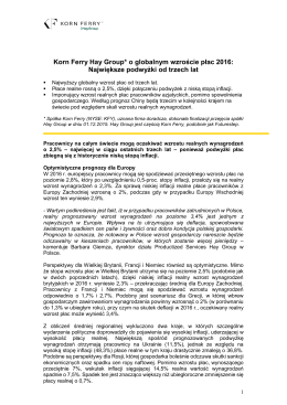 Badanie Korn Ferry Hay Group Najwi Ksze Podwy Ki Od Trzech Lat