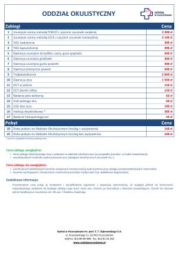 Cennik Oddziału Okulistycznego (01.04.2015 r.)