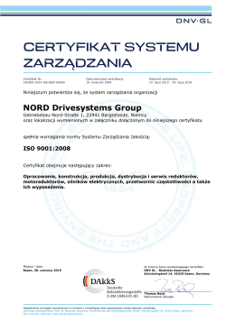 ISO 9001:2008 Nord Drivesystems Group