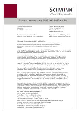 Informacja prasowa - targi ZOW 2015 Bad Salzuflen