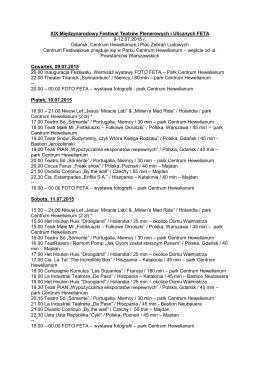 program festiwalu Feta 2015