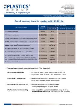 Cennik dostawy towarów - ważny od 01.09.2015 r.