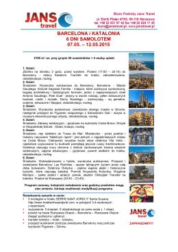 BARCELONA i KATALONIA 6 DNI SAMOLOTEM 07.05. – 12.05.2015