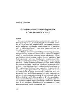 Kompetencje emocjonalne i społeczne a funkcjonowanie w pracy