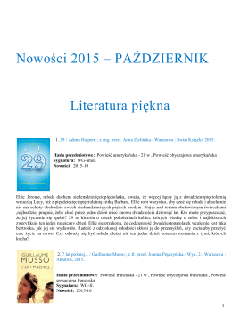 Nowości 2015 – PAŹDZIERNIK Literatura piękna