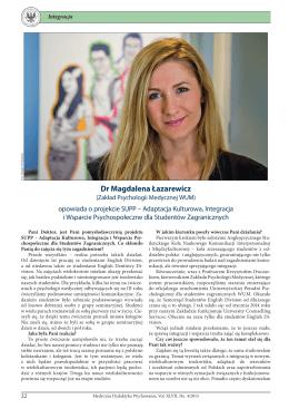 MDW nr 4/2015 – wywiad z dr Magdaleną Łazarewicz.