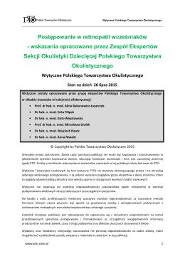 Wytyczne PTO - Retinopatia wcześniaków 2015