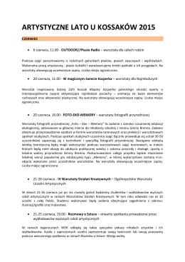 Szczegółowy opis wydarzeń - Fundacja im. Zofii Kossak