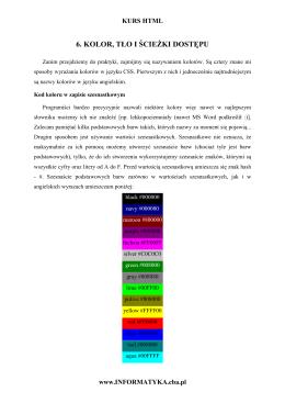 6. Kolor, tło i ścieżki dostępu