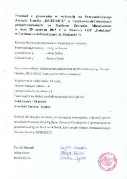 Protokoły z wyborów przewodniczącego/ członków Zarządu Osiedla