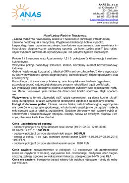 """Hotel Leśna Pieśń w Truskawcu. """"Leśna Pieśń"""" to"""