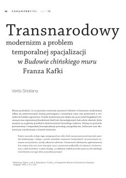 Transnarodowy modernizm a problem temporalnej spacjalizacji w