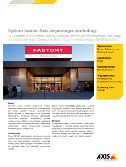 System kamer Axis wspomaga marketing.