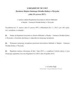 Regulamin Biblioteki Wyrzysk z 30.06.2015 SOWA