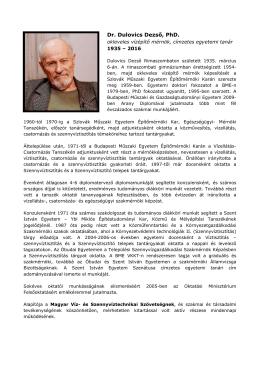 Dr. Dulovics Dezső, PhD. - Magyar Szennyvíztechnikai Szövetség
