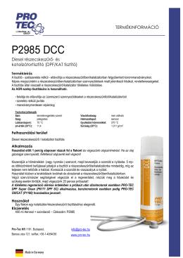 DPF/Catalyst Cleaner - termékleírás - PRO-TEC