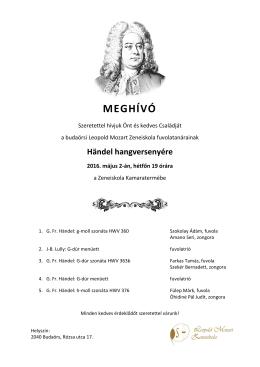 MEGHÍVÓ - Leopold Mozart Zeneiskola