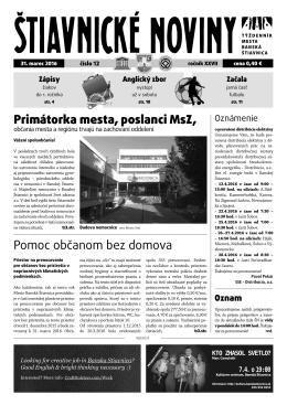 Pomoc občanom bez domova Primátorka mesta