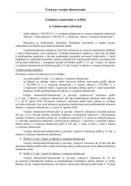 Úrad pre verejné obstarávanie Výkladové stanovisko č. 6/2016 k
