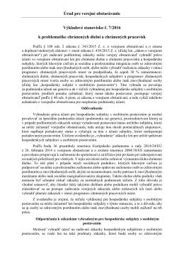 Úrad pre verejné obstarávanie Výkladové stanovisko č. 7/2016 k