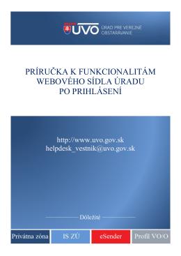 Príručka k funkcionalitám webovÉHO sídlA úradu po prihlásení
