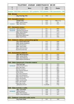 Telefónny zoznam MH SR podľa sekcií