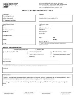 žiadosť o zriadenie príležitostnej pošty
