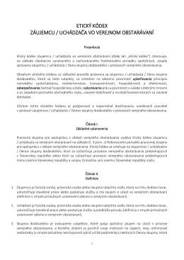 etický kódex záujemcu / uchádzača vo verejnom obstarávaní