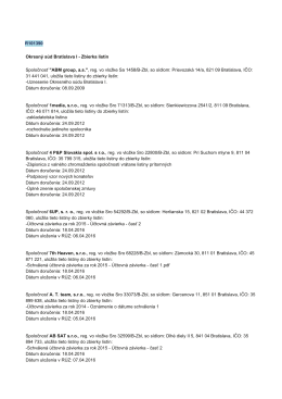 Spoloćnosť AB SAT sro, reg. vo vlożke Sro 32599/B.Zbl, so