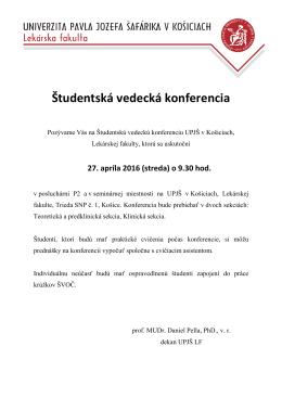 Študentská vedecká konferencia UPJŠ LF