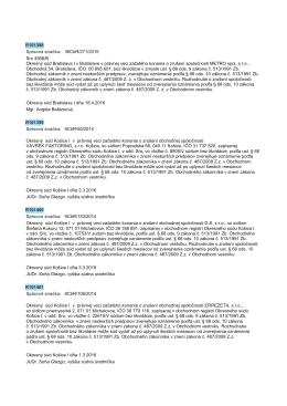 R101398 Spisová znaćka: 36CbR/271/2015 Sro 4958/B