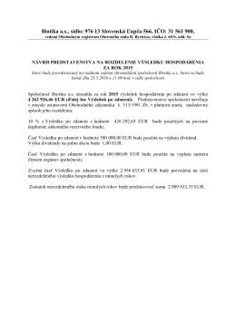 Návrh na rozdelenie výsledku za rok 2015