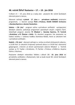 48. ročník ŠSPaT Raslavice – 17. – 19. jún 2016