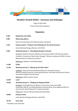 Slovakia`s Growth Model – Successes and Challenges