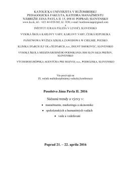 O konferencii - Konferencie - Katolícka univerzita v Ružomberku