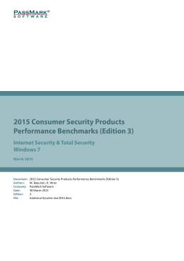 2015 Consumer Security Products Performance Benchmarks