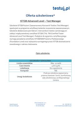 ISTQB AL Test Manager - profesjonalne szkolenia dla testerów