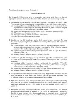 Języki i metody programowania. Ćwiczenie 8. Tablice liczb i znaków