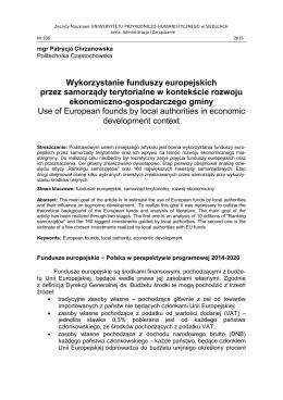 Wykorzystanie funduszy europejskich przez samorządy terytorialne