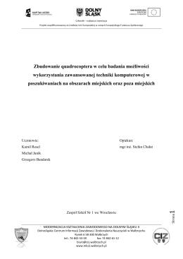 Zbudowanie quadrocoptera w celu badania możliwości
