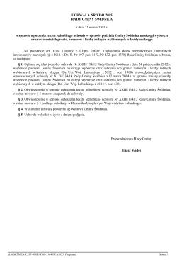 Uchwala Nr VI/41/2015 z dnia 25 marca 2015 r.