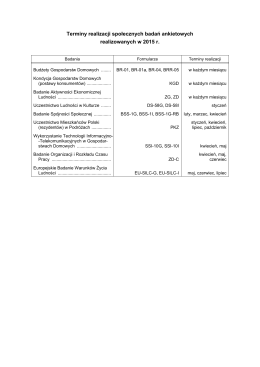 Terminy realizacji badań społecznych w 2015 r.