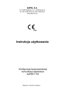 Konfiguracja bezprzewodowej komunikacji rejestratora AsPEKT 703
