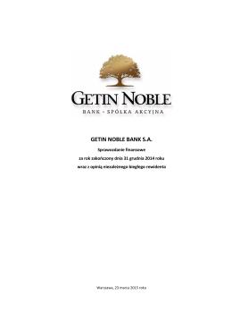 Sprawozdanie finansowe Getin Noble Bank S.A. za 2014 r.