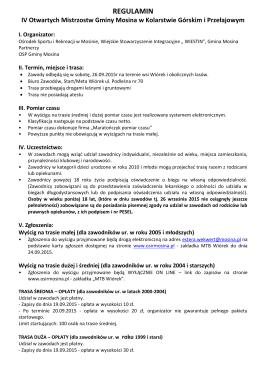 REGULAMIN IV Otwartych Mistrzostw Gminy Mosina w Kolarstwie
