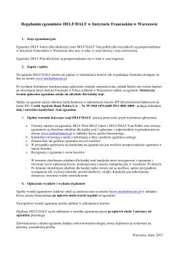 Regulamin egzaminów DELF/DALF w Instytucie Francuskim w