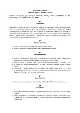 Regulamin konkursu Paliwowy Konkurs w Radiu