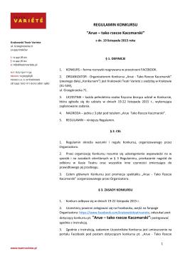 konkurs-regulamin - Krakowski Teatr Variete