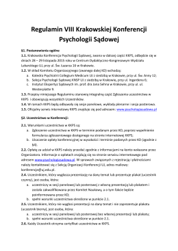 Regulaminu Konferencji - VIII Krakowska Konferencja Psychologii