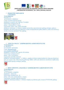 """baza noclegowa - Lokalna Grupa Działania """"Partnerstwo w rozwoju"""""""